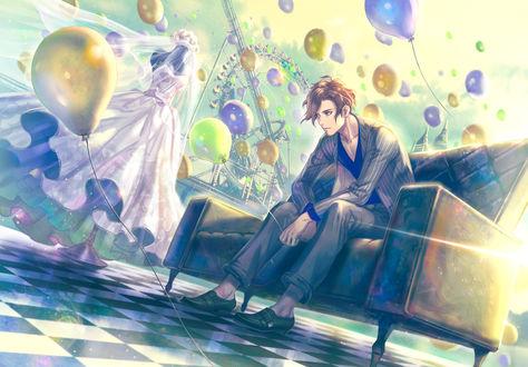 Обои Парень сидит в кресле, рядом стоит манекен в платье невесты