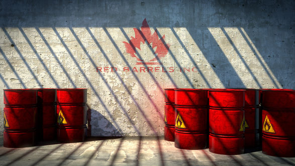 Обои Красные бочки со знаком огнеопасно возле стены с надписью Red Barrels Inc