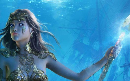 Обои Русалка с магическим посохом в руке под водой на фоне затонувшего корабля