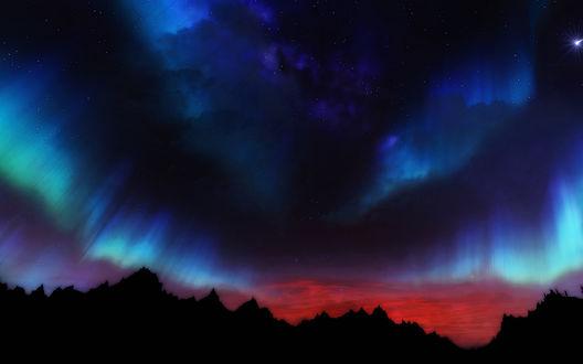 Обои Силуэты гор на фоне северного сияния, эпизод из мультиплатформенной компьютерной ролевой игры The Elder Scrolls V: Skyrim / Древние свитки 5: Скайрим