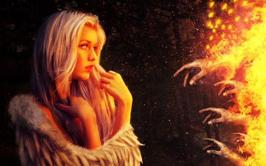 Обои Плачущая девушка-ангел смотрит на человеческие руки горящие в огне, by ArtIn Our Heart