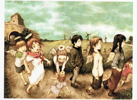 Обои Rakka, Nemu, Hikari, Kuu и Reki идут по дороге из аниме Haibine Renmei / Союз Серокрылых, art by Yoshitoshi Abe