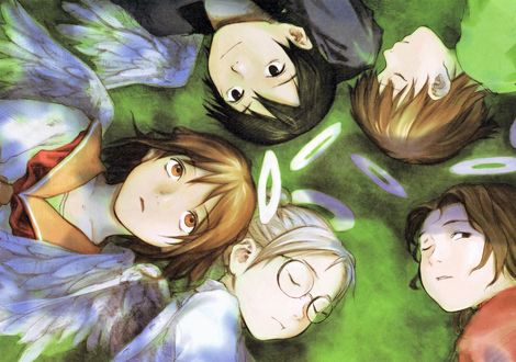 Обои Rakka, Nemu, Hikari, Kuu и Reki лежат на траве из аниме Haibine Renmei / Союз Серокрылых, art by Yoshitoshi Abe