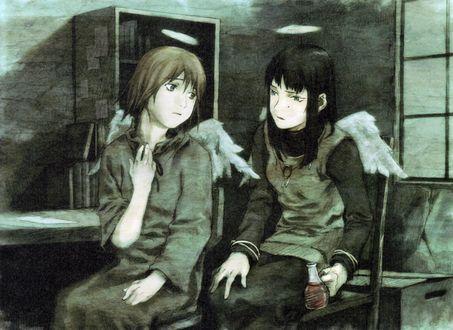 Обои Rakka и Reki сидят в комнате из аниме Haibine Renmei / Союз Серокрылых, art by Yoshitoshi Abe