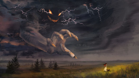 Обои Чудище с неба тянет свою руку к девушке, которая стоит в поле с собакой, ву Cath Botsman