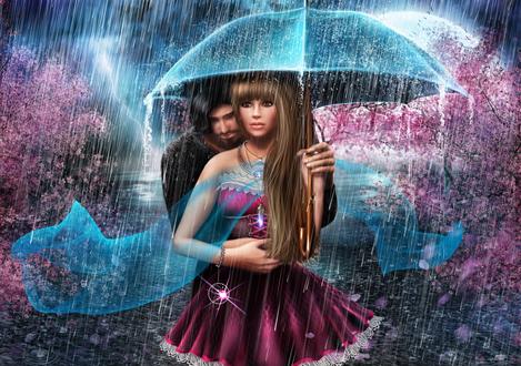 Обои Девушка с парнем под зонтом во время дождя, by AlenaEkaterinburg
