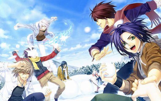 Обои Демон Takuma Onizaki / Такума Онизаки играет в снежки с друзьями из аниме Hiiro no Kakera / Багровые осколки