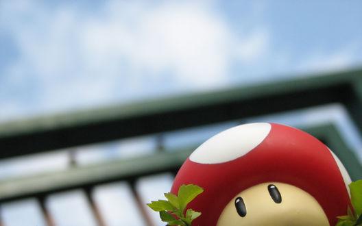 Обои Гриб мухомор из игры Super Mario / Супер Марио