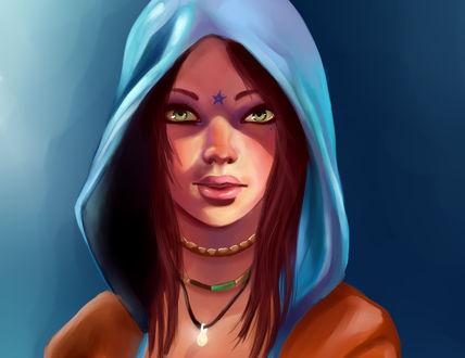 Обои Kat / Кэт - таинственная девушка со способностями медиума, в капюшоне, с украшениями на шее и звездочкой на лбу, постер к игре Devil May Cry / Дьявол может плакать