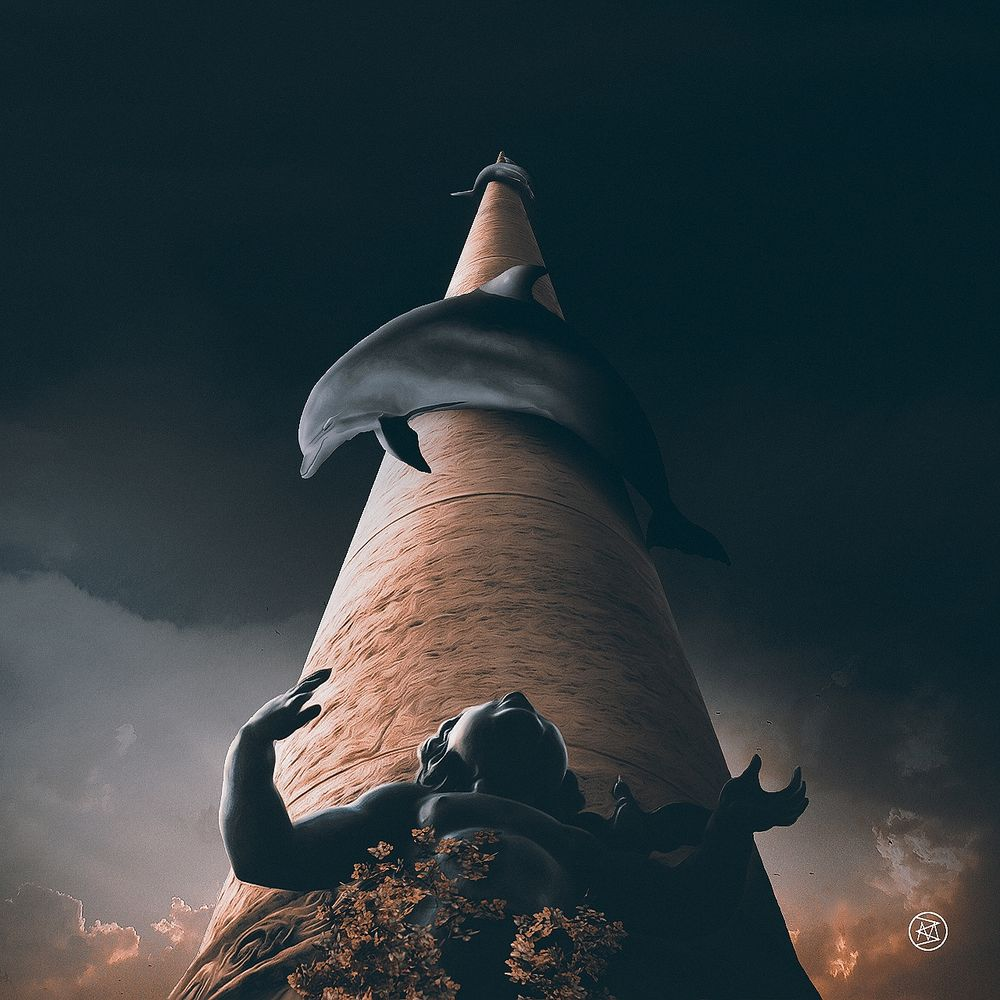 Обои для рабочего стола Фигура мальчика Ангелочка возле колонны, вокруг которой обвились дельфины, by BesnikMeti