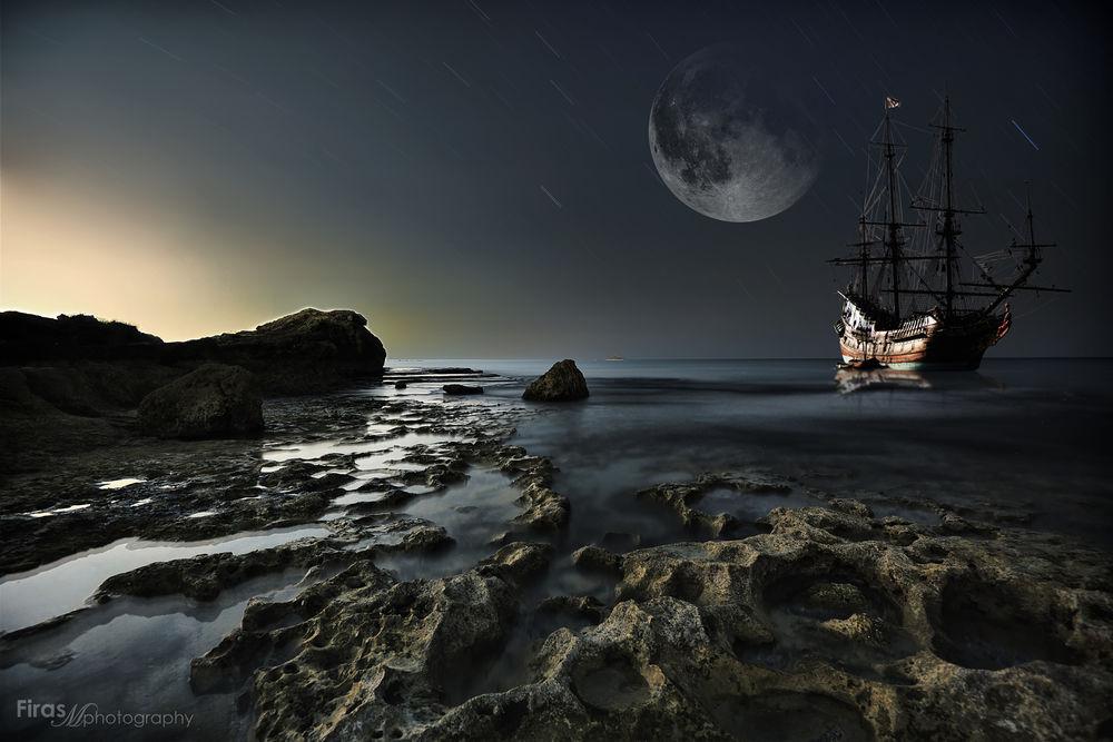 корабль в ночном море картинки регулярно