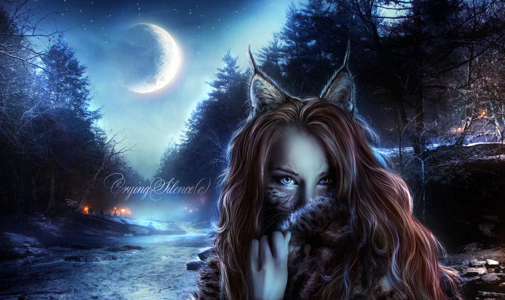 Обои для рабочего стола Девушка-рысь в ночном лесу, by JosefinaCS