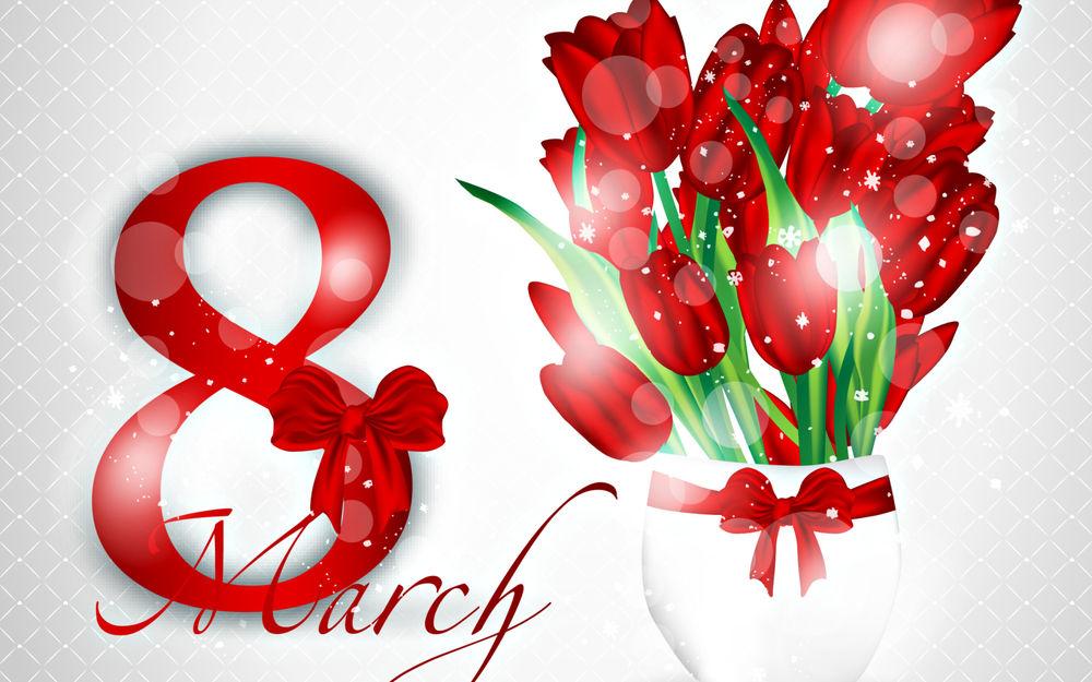 Обои для рабочего стола Открытка с красивым букетом тюльпанов на 8 марта