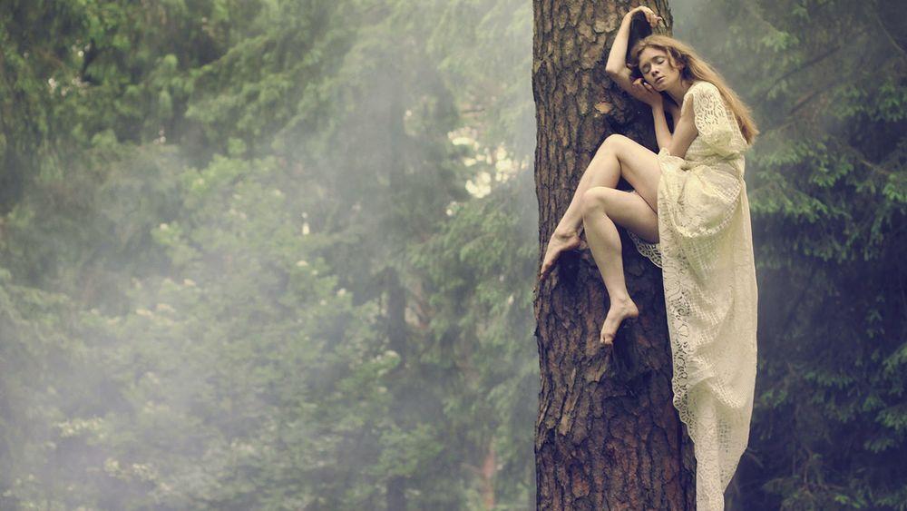 Фото девушки стоящей на дереве возле моря в белом платье фото 562-319