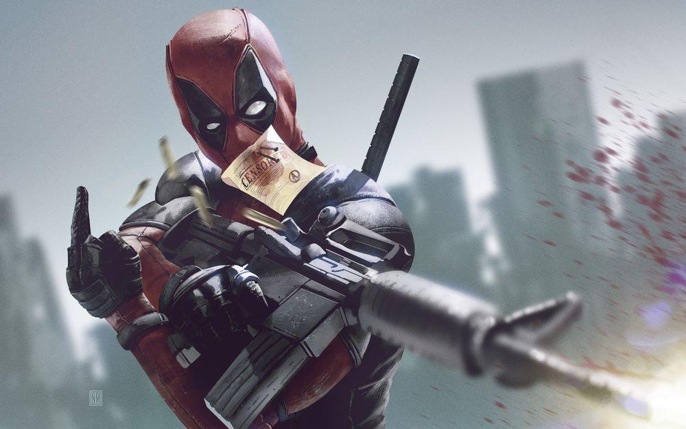 Обои для рабочего стола Герой комиксов Дедпул / Deadpool с оружием в руках