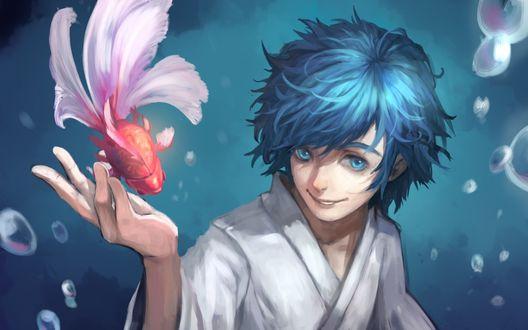 Обои Vocaloid Kaito Shion / Вокалоид Кайто Шион под водой протянул руку к золотой рыбке