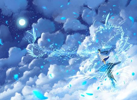 Обои Девушка колдует, стоя на вершине башни среди облаков, by bounin