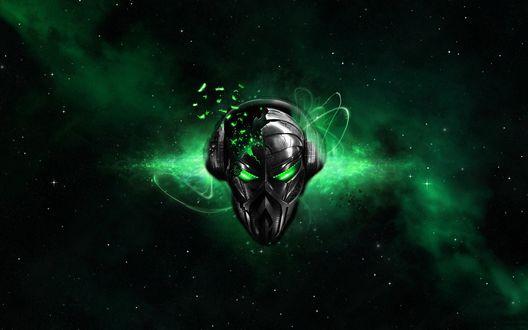 Обои Логотип Пиратской Станции на фоне зеленого космоса