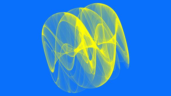 Обои Желтая абстракция на голубом фоне