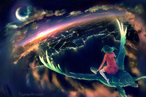 Обои Девушка летит на крылатой черепахе в ночном небе над городом, by Yuumei