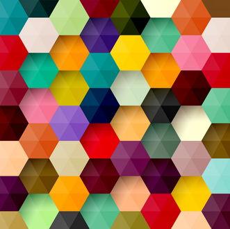 Обои Узор из цветных шестиугольников