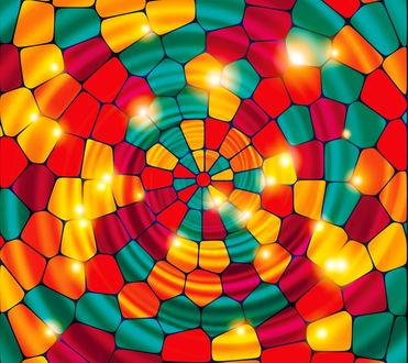Обои Цветная мозаика, сходящаяся к центру спиралью