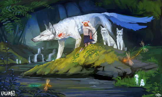 Обои Принцесса Мононокэ Сан / San и богиня-волчица Моро / Moro из аниме Princess Mononoke / Принцесса Мононоке / Mononoke Hime, by Kalambo