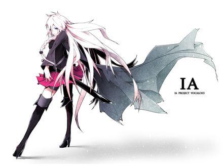 Обои Vocaloid IA / Вокалоид Айа в развевающемся черном плаще, с катаной стоит на белом фоне
