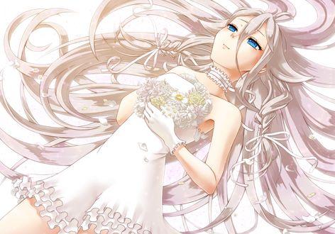 Обои Vocaloid IA / Вокалоид Айя лежит в белом платье с букетом, art by Nonaka-nako