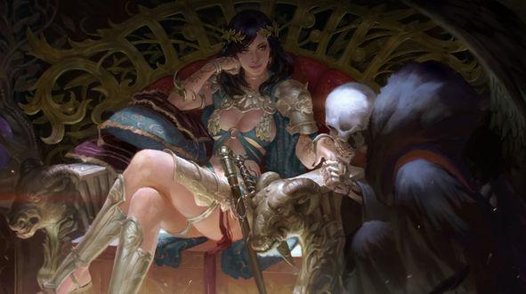 Обои Руку девушки, сидящей на троне, целует смерть, by KilartDev