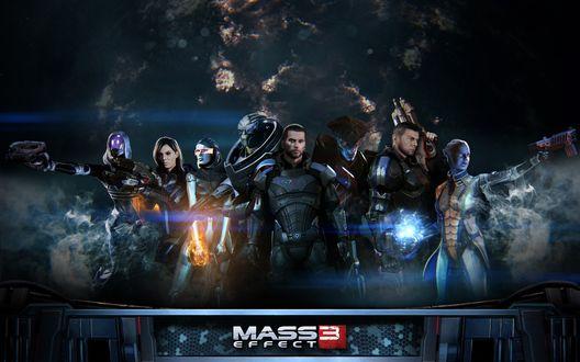Обои Вооруженные персонажи игры Mass effect 3 / Эффект массы 3 в сборе