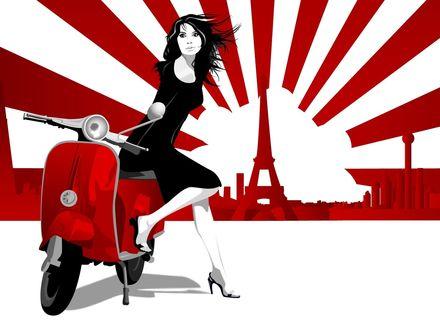Обои Векторная графика: черно-белая девушка сидит на красном скутере на фоне Эйфелевой башни в Париже
