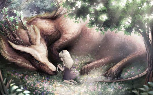 Обои Девочка сплела дракону венок из цветов
