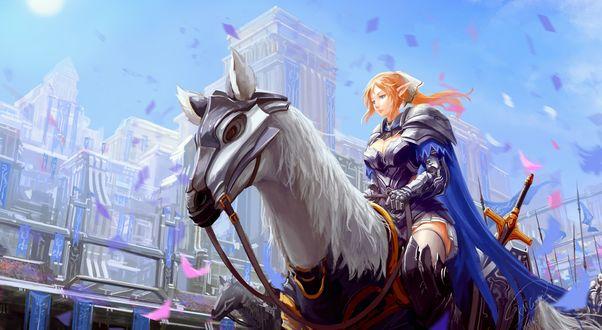 Обои Рыжая эльфийская всадница в доспехах на боевом коне едет по улице города на параде