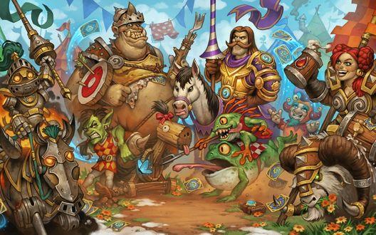 Обои Постер к игре Hearthstone — Большой турнир, где есть орки, лошади, лягушки, люди и гномы