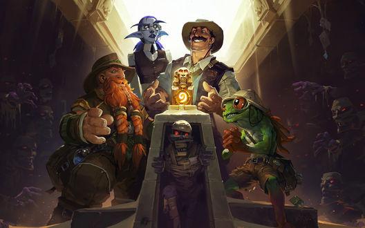 Обои Гном, Эльфийка, человек и лягушка нашли сокровище в гробнице, полной мумий, Игра The League of Explorers / Лига Исследователей