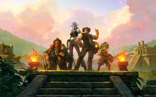 Обои Герои игры The League of Explorers / Лига Исследователей: Гном, Эльфийка, человек и лягушка стоят на лестнице, на фоне пирамид Майя
