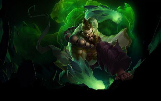 Обои Хранитель Духов Удир / Spirit Guard Udyr и зеленый дух черепахи, игра League of Legends / Лига легенд