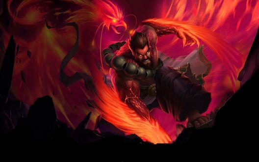Обои Хранитель Духов Удир / Spirit Guard Udyr и красный дух Феникса, игра League of Legends / Лига легенд