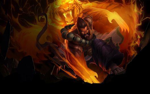 Обои Хранитель Духов Удир / Spirit Guard Udyr и желтый дух тигра, игра League of Legends / Лига легенд