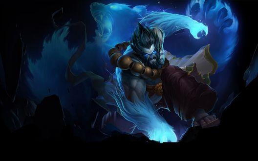 Обои Хранитель Духов Удир / Spirit Guard Udyr и синий дух медведя, игра League of Legends / Лига легенд