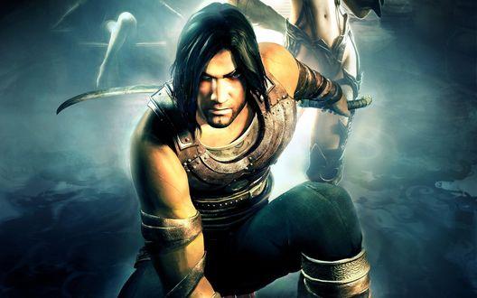 Обои Игра Prince Of Persia / Принц Персии, где главный персонаж присел, держа меч наготове
