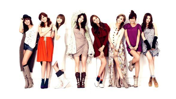 Обои Девушки из группы After School позируют на белом фоне, k-pop, Южная Корея