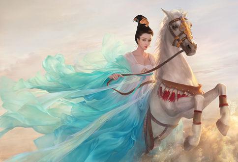 Обои Девушка азиатской внешности в бирюзовом одеянии на белой лошади скачет по воде