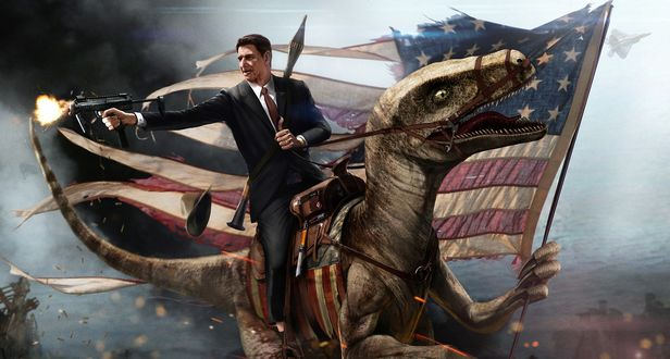 Обои Мужчина в костюме стреляет из автомата, сидя на динозавре Велоцирапторе, который несет потрепанный американский флаг, арт от Ronald Reygan / Рональд Рейган