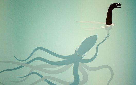 Обои Осьминог плавает под водой с головой Лох-несского чудовища