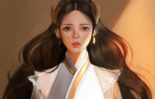 Обои Заплаканная девушка азиатской внешности с длинными развевающимися волосам