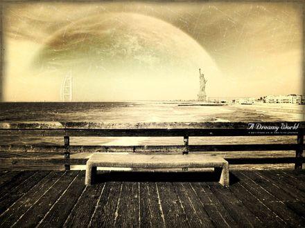 Обои Вид на море, по правой стороне которого виднеется Статуя Свободы / Statue of Liberty, находящаяся в Нью-Йорке / New York, а по левой - отель Парус / Burj Al Arab Hotel, из города Дубай / Dubai, а над морем видна огромная луна (A Dreamy World A mans dreams are an index to his greatness)