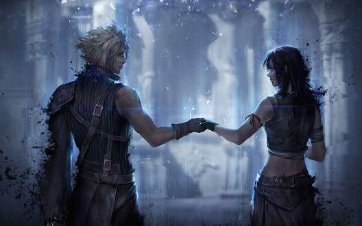 Обои Cloud Strife / Клауд Страйф и Tifa Lockhart / Тифа Локхарт из аниме и игры Final Fantasy VII: Advent Children / Последняя фантазия VII: Дети пришествия