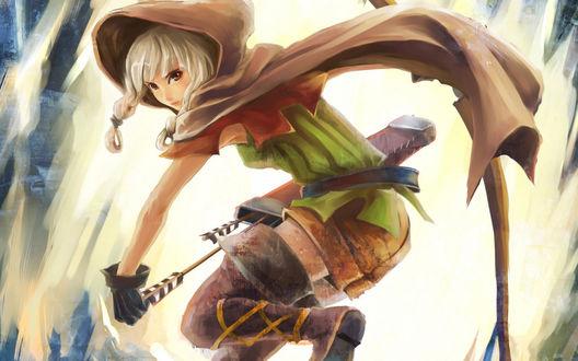 Обои Эльфийка - лучница из игры Корона дракона / Dragons Crown в плаще достает стрелу из лука